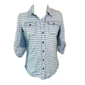 Cavalini Womens Button Front Shirt Blue Stripe M